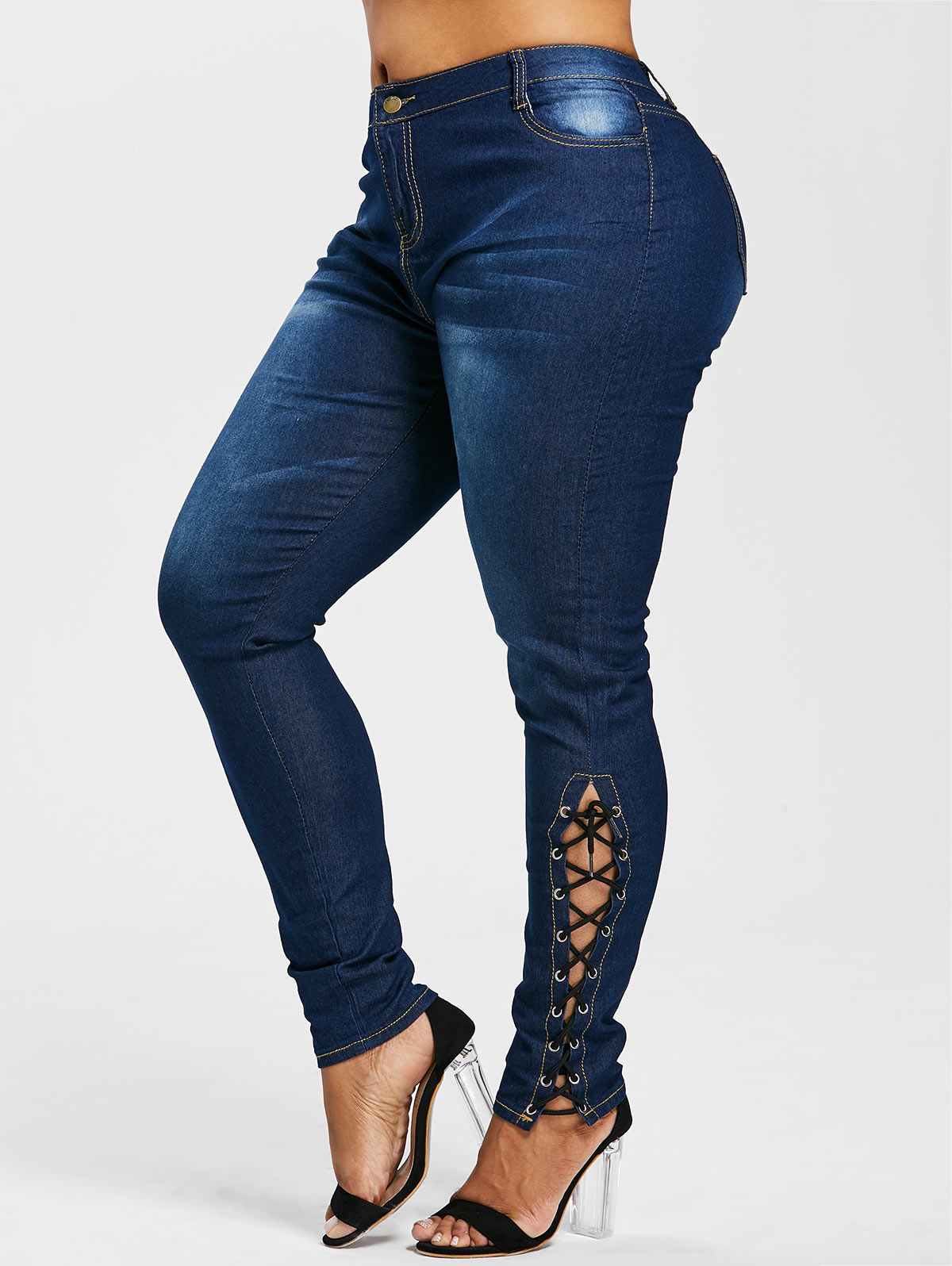 Wipalo Plus Size Zipper Fly Side Lace Up Jeans Skinny High Waist Pockets Female Washed Denim Women Pant Trousers Big Size 5XL-in Jeans from Women's Clothing & Accessories on Aliexpress.com | Alibaba Group