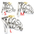 3 Size Stainless Steel Male Chastity Device Cock Cage with Urethral Catheter Penis Ring,Virginity Lock,Adult Game,Sex Toy C169