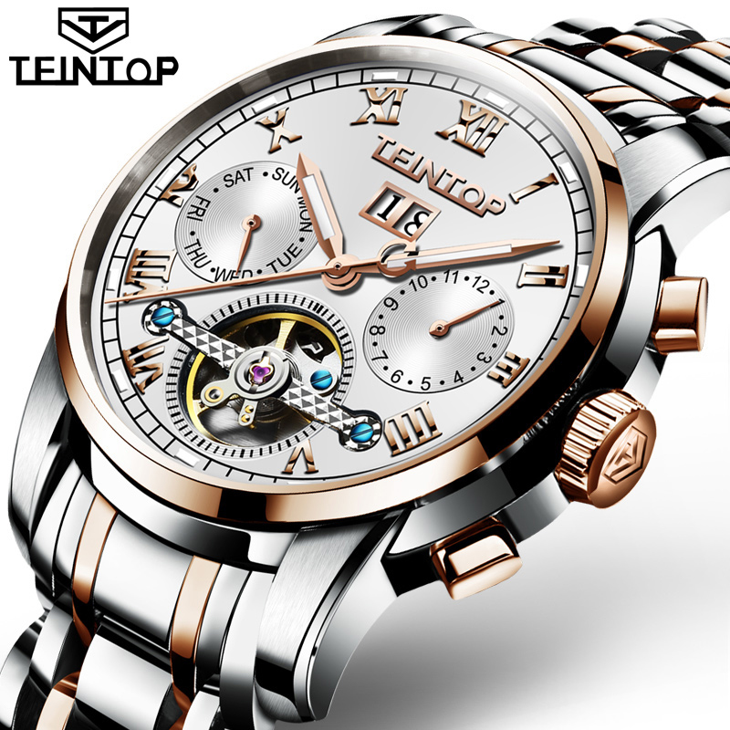 Mechanical Watch Men TEINTOP Role Luxury Brand Men Watches Skeleton Tourbillon Wrist Sapphire Men Watch Waterproof Luminous loreo mechanical watch men 50m diving luxury brand men watches tourbillon skeleton wrist sapphire automatic watch waterproof
