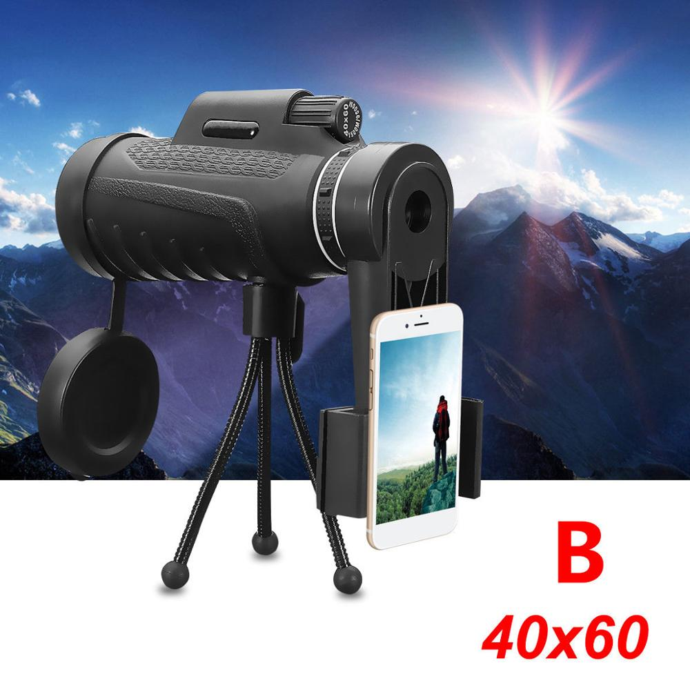40x HD Lens Zoom Monocular Phone Waterproof Telescope+Bag+Tripod For iPhone 7 7S Plus 6S For Xiaomi  hiking sports eyebre hd monocular