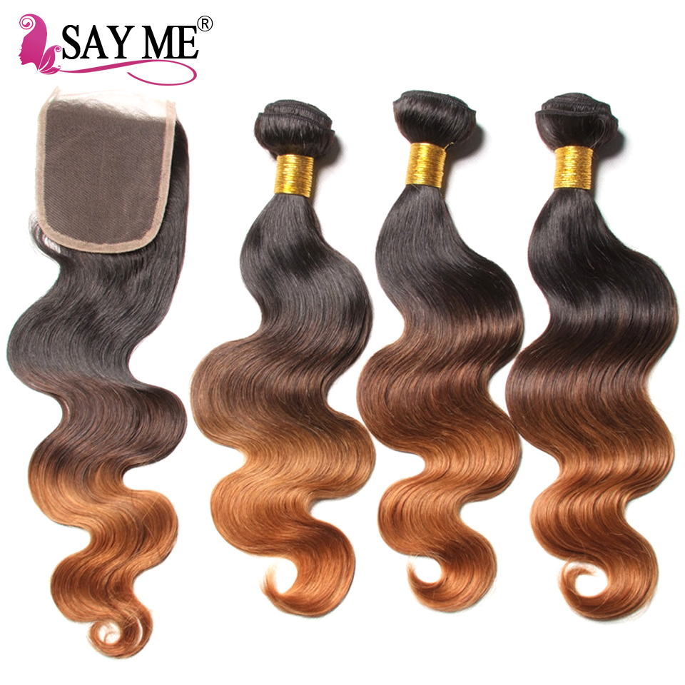 Ombre Body Wave Human Hair Bundle Med Lace Closure Blonde Brazilian - Menneskehår (sort) - Foto 2