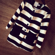 Women's 2014 autumn new Europe catwalk models black and white striped coat thick long-sleeved jacket and long sections WL2041
