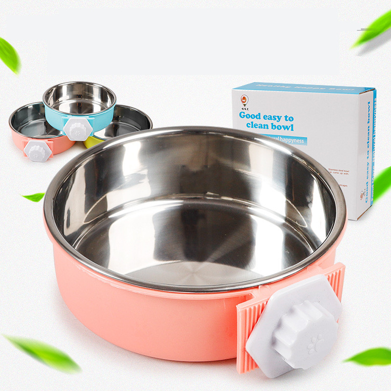 Crate Dog Bowl, Removable Stainless Steel Coop Cup Hanging Pet Cage Bowl Large Water Food Feeder for Dogs Cats Rabbits MayT3 (5)