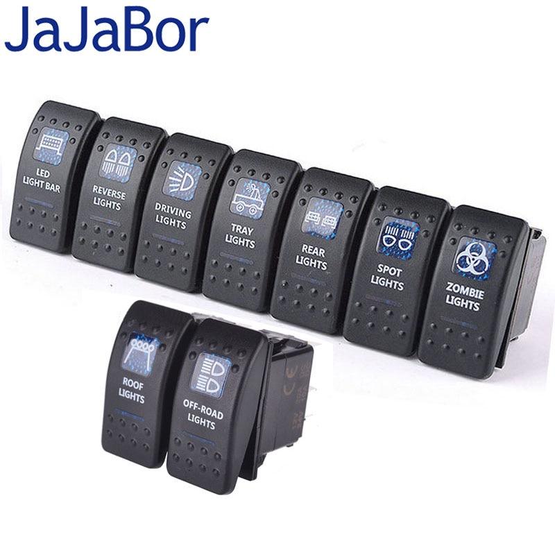JaJaBor 9Pcs/Lot New Luxury Switch with LED Indicator Light Bar ARB Carling Rocker Toggle Switch Blue LED Light Car Boat