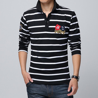 New 2018 Men's Leisure Fashion Boutique Stripe Cotton Long Sleeve Lapel POLO Shirts / Male Big Size Business Casual POLO Shirt