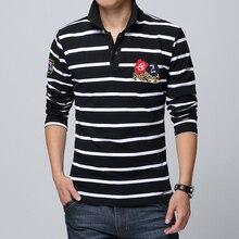 Новый 2017 мужчин досуг моды бутик полоса хлопка с длинными рукавами нагрудные POLO рубашки/Мужчины большой размер бизнес случайный POLO shirt