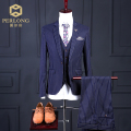 2016 spring/fall navy striped mens 3 piece suits uk wedding groom slim fitted dress suits male blazer+vest+pants sets for gifts