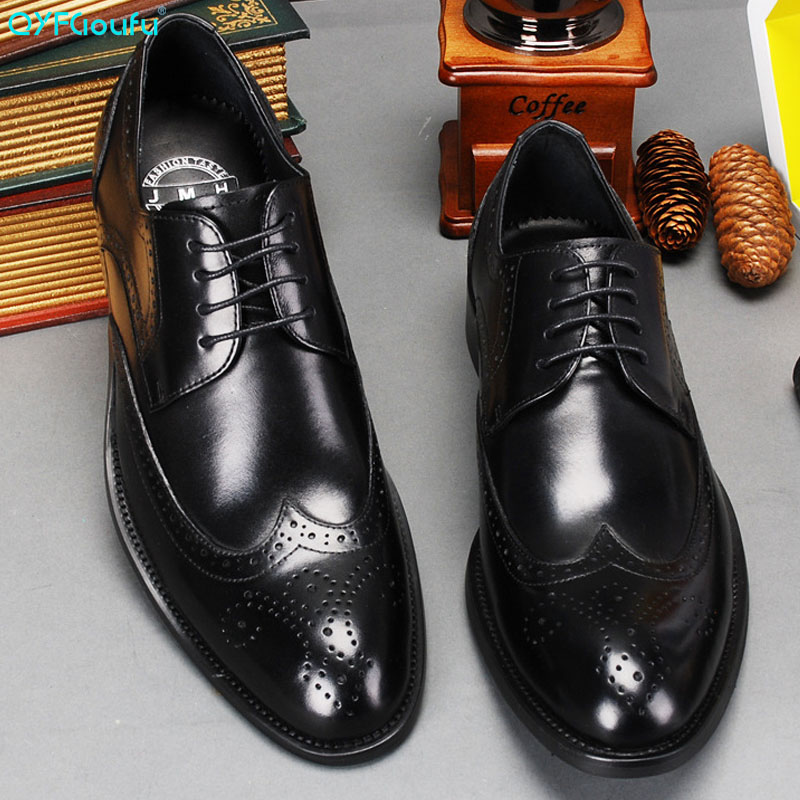 QYFCIOUFU New Fashion Genuine Leather Shoes Men Shoe Luxury Pointed Toe Lace up Dress Shoes Carved Business Formal Brogue Shoes in Formal Shoes from Shoes