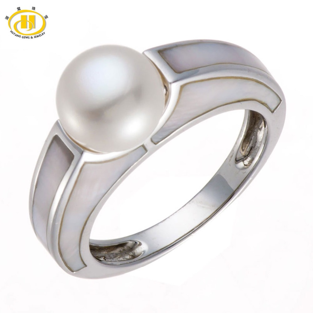 Hutang Pearl Jewelry 100% Natural Freshwater Pearl Ring Mother of Pearl Solid 925 Sterling Silver Fine Fashion Jewelry Gift New lohaspie ocean party natural sapphire pendant solid 9k yellow gold mother of pearl starfish fine fashion stone pearl jewelry new