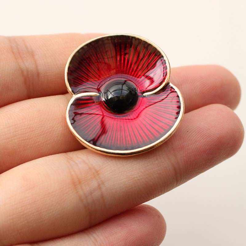 Poppy Collection Red Enamel Poppy Brooch Pins Both Silver and Gold Available