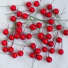 1 cm 100 adet yapay çiçekler Stamens Kırmızı meyveler kiraz Sahte Pürüzsüz Köpük Meyve Düğün Noel Dekorasyon için