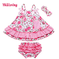 Baby Girl Ruffle Bloomers Sling Bat Shirt + Girls Camo Style Briefs Sets Infant Short Swing Top  Summer clothing 2017 New Style