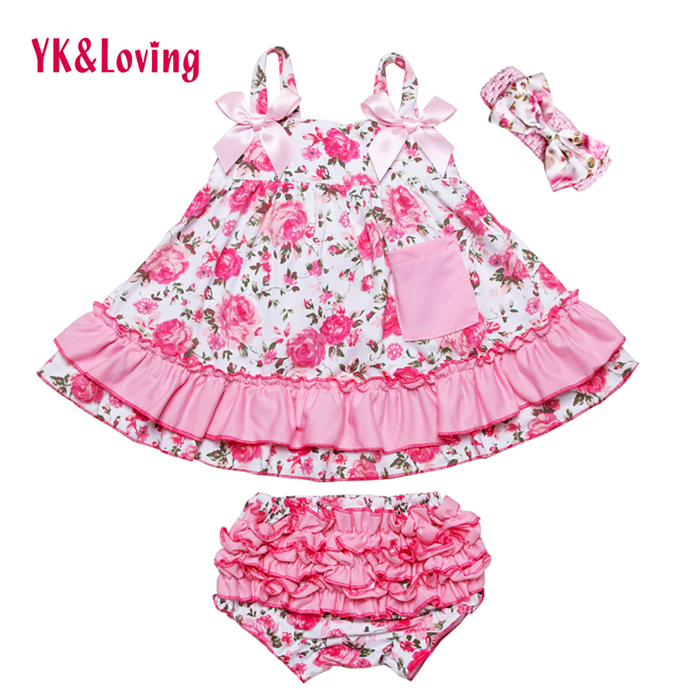 Baby Girl Ruffle Bloomers Sling Bat Shirt + Girls Camo Style Briefs Sets Infant Short Swing Top Lovely clothing 2017 New Style