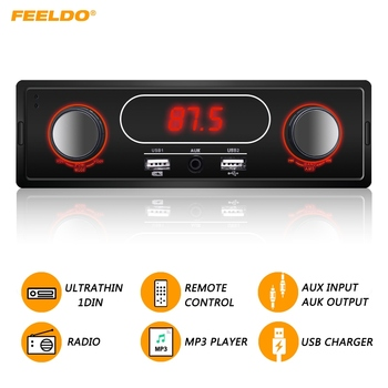 FEELDO Ultrathin 1DIN Car MP3 Player With FM AM Radio AUX IN/OUT High Power USB Charger IR Remote Control #AM3838 image