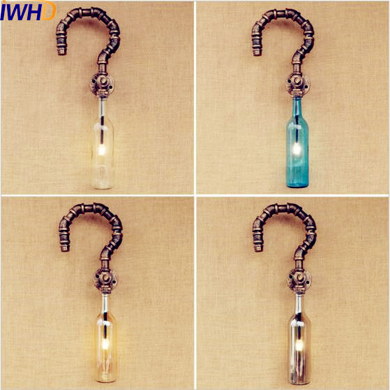 IWHD Glass Bottle Retro Vintage Wall Light Fixtures Water Pipe Wall Lamp Loft Industrial Wall Sconce Edison Apliques Pared adnart flavour it glass water bottle with fruit infuser