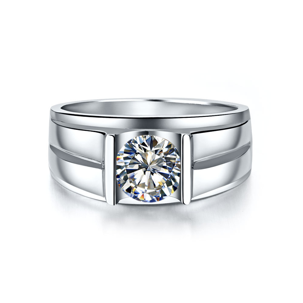 1 Carat Classic Real Solid 18K White Gold Man Ring Round Diamond ...