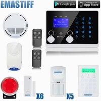 G2FX Wireless GSM SMS Home Emergency Alert Security Alarm System, Fire Smoke Alarm Alert+Touch Password keypad+Wireless Siren