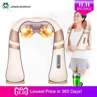 JinKaiRui Cordless Rechargeable Neck Back Shiatsu Massager 3D Deep Kneading Portable Full Body Massagem with Heat Relieve Pain