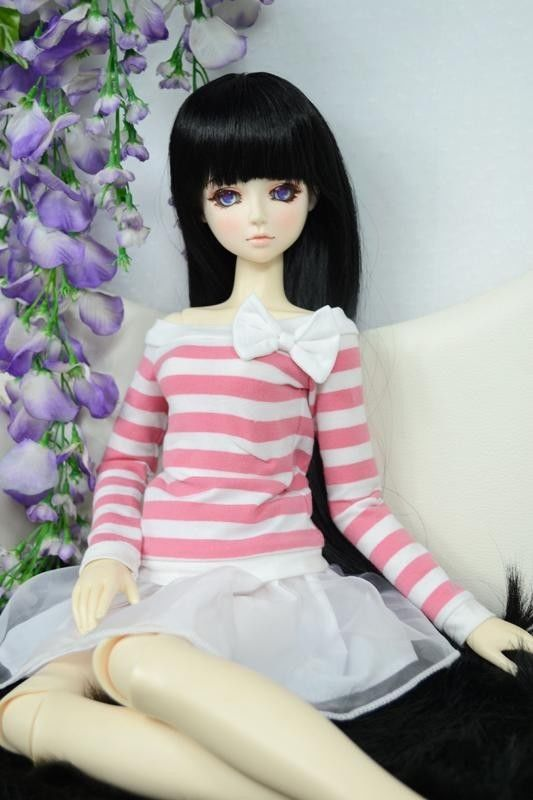 [wamami] 108# Pink & White Stripe Clothes/Dress 1/4 MSD DOD BJD Dollfie