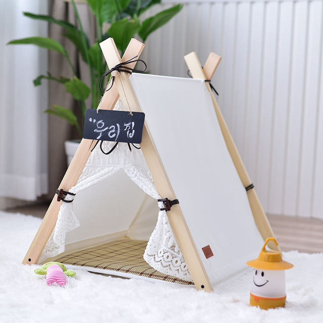 New Wooden Pet tent Dog house Stripe Foldable Pet House Tent Wood Kennel Puppy Love Dog Cat Bed House with Cushion ped LD018