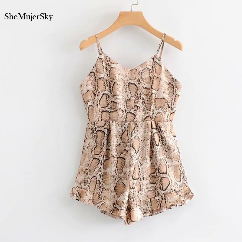 SheMujerSky Snake Print Playsuit Backless Summer Strappy Romper 2019 Sleeveless Short Jumpsuits