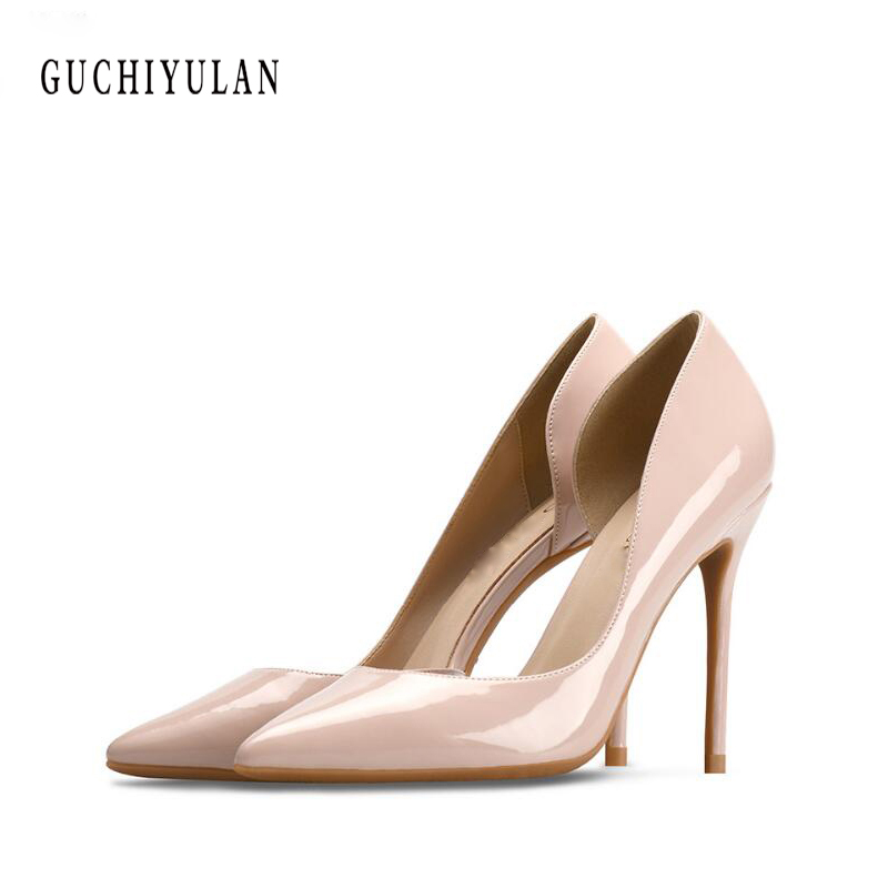 summer 8CM Heels Women Wedding Shoes Nude Heels Spring Shoe Ladies Pumps Beige Patent Leather Women Shoes Pointed Toe High Heelssummer 8CM Heels Women Wedding Shoes Nude Heels Spring Shoe Ladies Pumps Beige Patent Leather Women Shoes Pointed Toe High Heels