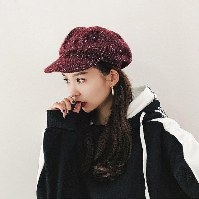32616fe08bcdb Autumn Winter Hats Women Casual Knitted Female Berets Retro Artist Painter  Women Beret Hats Ladies Octagonal Newsboy Caps