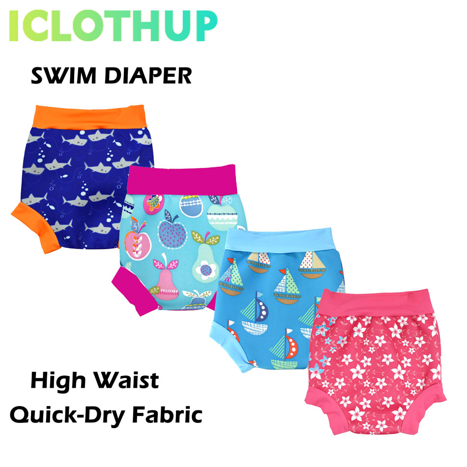 ICLOTHUP High Waist Baby Kid Swim Diaper, Reusable Washable Waterproof Swim Nappy,Quick Dry Swim Pool Pants
