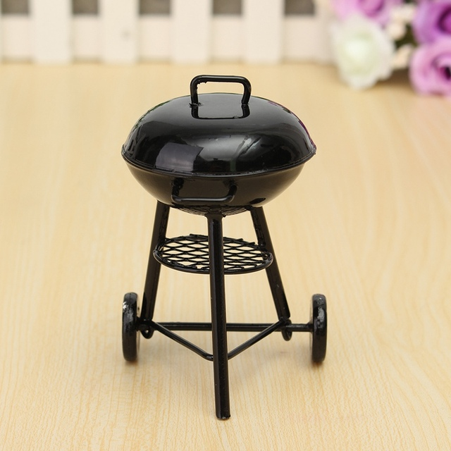 1/12 Scale BBQ Grill Miniature Ornaments Doll House Figurines Gadget  Kitchen Acessories Food Furniture