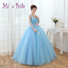 Prom Dress 2017 Light Blue Scoop Neck 3/4 Sleeved Evening Party Dress Long Formal Robe De Soiree Floor length Prom Ball Gown