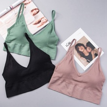 Summer Comfortable Girls Tank Top Women's  Padded Tube Tank Top Thin Sleeveless Cropped Top velevet lace trimmed cropped tank top