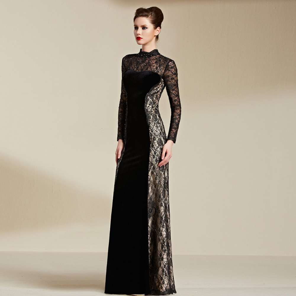 8ece5097b0 Coniefox 82066 Round Neck vestido longo Beaded Velvet Lace Black Long  Sleeve Woman Muslim Long Evening Dresses on Aliexpress.com | Alibaba Group