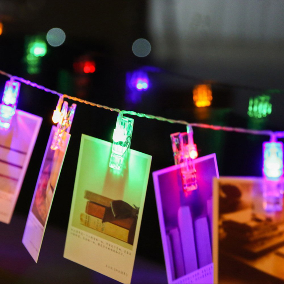USB / battery-powered Card Photo Clip String Lights Colorful Crystal Festival Party