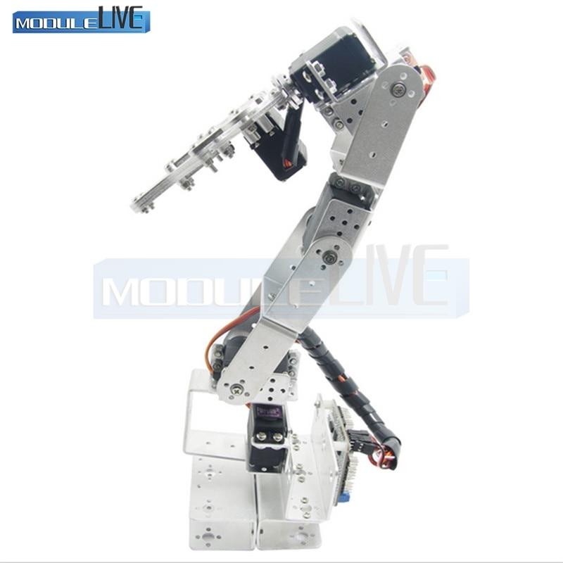ROT3U 6DOF Aluminium Robot Arm Mechanical Robotic Clamp Claw for Arduino Silver 6dof robotic aluminium robot arm clamp claw