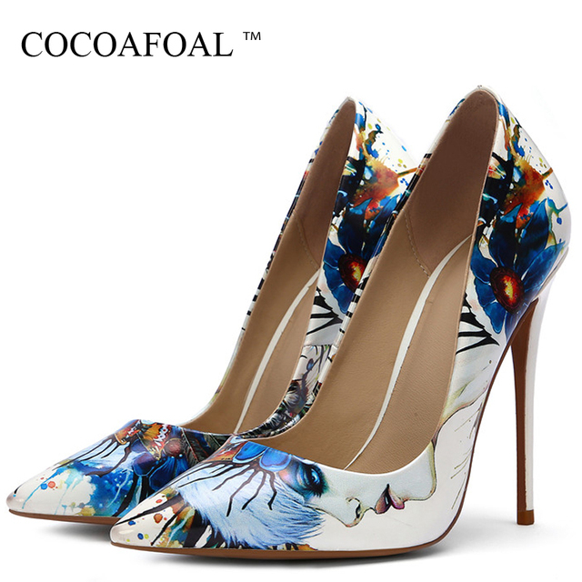 COCOAFOAL Fashion Sexy Women's White Doodling High Heels Shoes Wedding Shoes Pumps Party Pointed Toe Stripe Pumps Black Stiletto