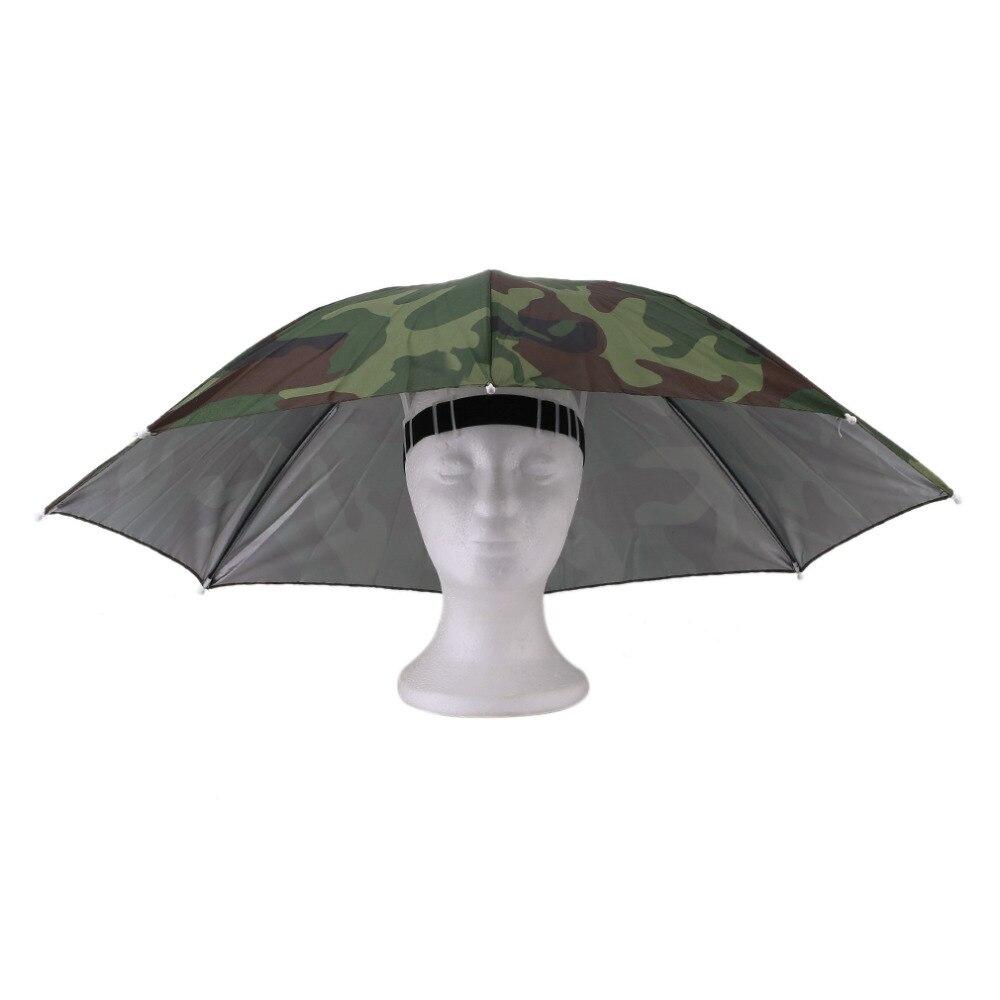 Outdoor Sports Women Men 69cm Umbrella Hat Cap Foldable Fishing Hiking Golf Beach Headwear Sun Shade Handsfree Umbrella Tackle