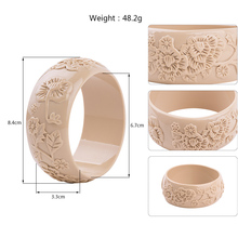 GuanLong Engrave Carved Flower Resin Bangles & Bracelets Fashion Office Ladies Bangle Pulseiras Jewellery