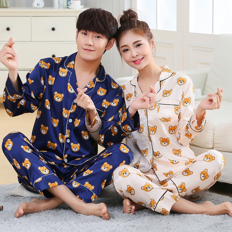 Couples   Pajamas     Sets   Men Women long Sleeve Sleepwear Long Pants Cartoon Bear Sleepwear Nightshirt Soft Faux Silk Satin Homewear