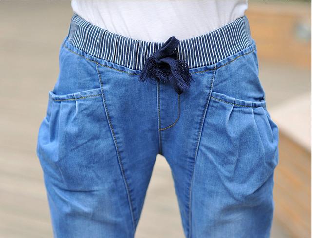 Moda 2016 Casuais Calças Jeans Femininas Verão Sexy Mulheres Hight Elasticidade Denim Jeans Plus Size Solta Shorts Jeans Montagem XL ~ 4XL 946
