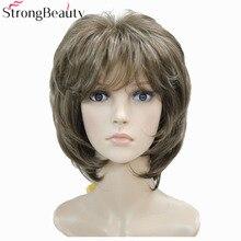 חזק יופי חום עם בלונד פאות מדגיש קצר ישר שיער של הליידי סינטטי פאה