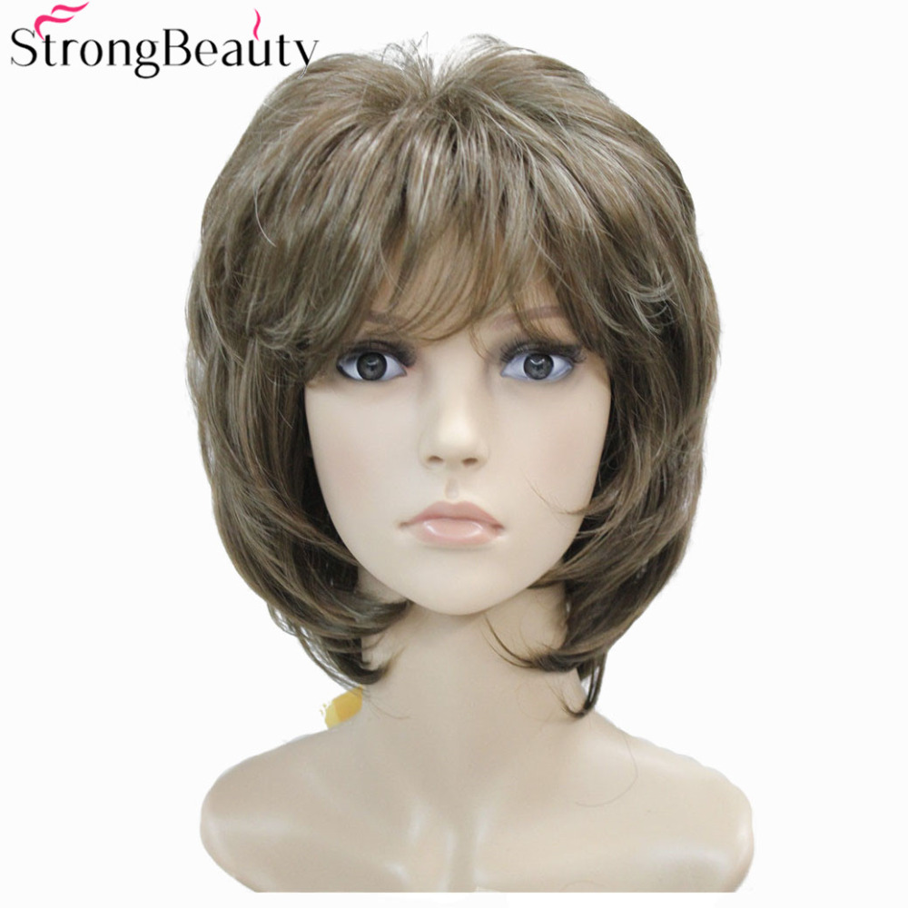 Strong Beauty Brown with Blonde Wigs Highlights Short Straight Hair Lady s Synthetic Wig