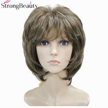 Strong Beauty Brown with Blonde Wigs Highlights Short Straight Hair Ladys Synthetic Wig