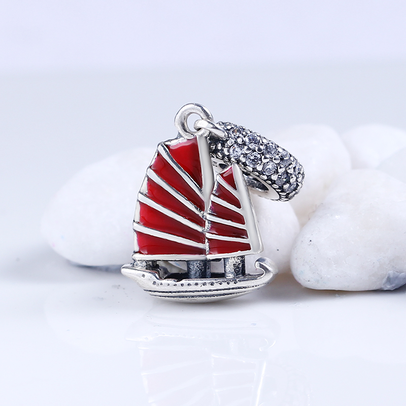 100% 925 Sterling Silver Charms Fit Original Pandora Bracelet Chinese Junk Ship Dangle DIY Charms Beads for Jewelry Making Gift