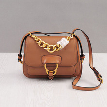 Winter Genuine Leather Gold Chain Small Saddle Bag for Women Retro 2016 New Handbag Fashion Messenger Bag Purse