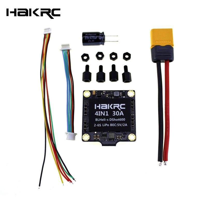 Hakrc 30A 30amp 4 In 1 ESC BLHeli_S BB2 2-6S Dshot600 Built-in 5V 2A BEC For RC Quadcopter Drone Frame Kit Motor Spare Part Accs emax f4 magnum tower parts bullet 30a 4 in 1 blheli s esc 2 4s built in current sensor for rc multicopter models motor frame