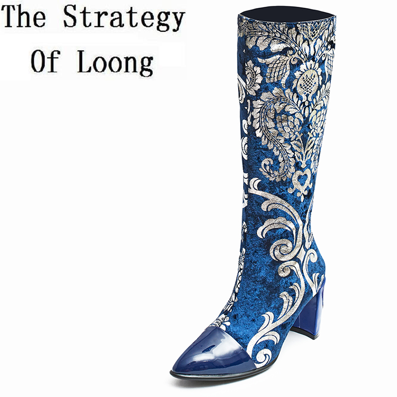 2017 New Embroider Genuine Leather Pointed Toe Women Winter Half Boots Spring Autumn Flower Real Leather Mid Calf Boots ZY171009 double buckle cross straps mid calf boots