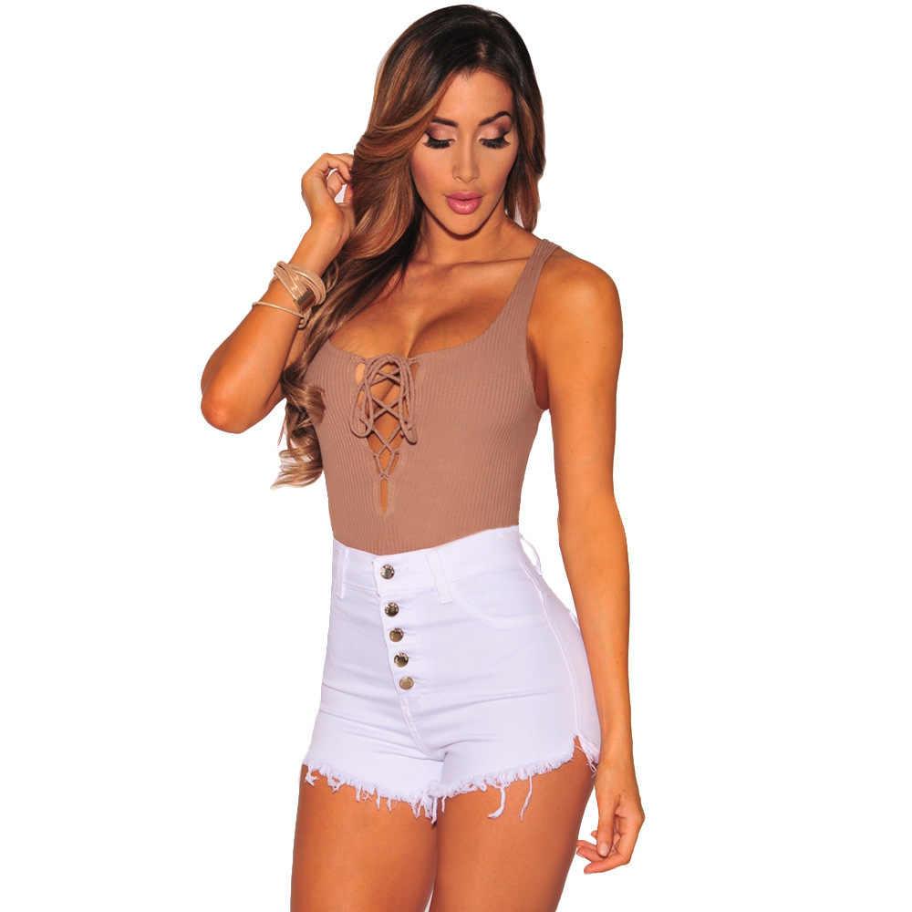 Dilusoo Denim กางเกงขาสั้นกางเกงขาสั้นเซ็กซี่สบายๆคาวบอยสั้นกางเกงยีนส์ปุ่มผู้หญิงฤดูร้อน 2018 Slim หญิงสูงเอวสั้นกางเกง