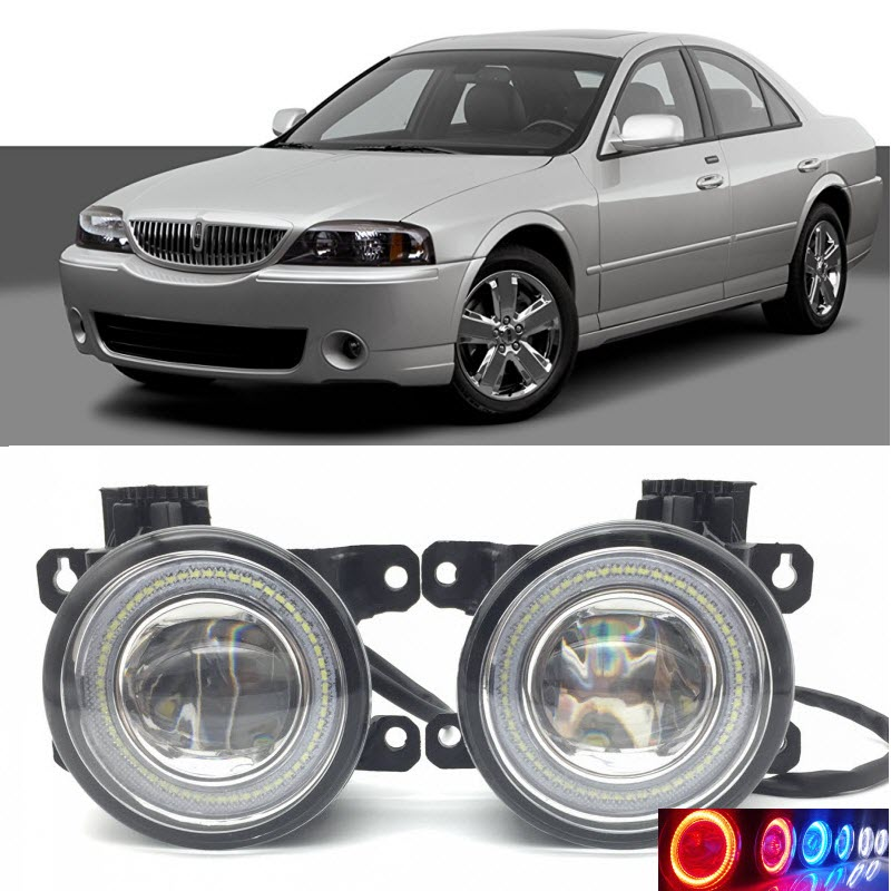 2 in 1 LED Angel Eyes DRL 3 Colors Daytime Running Lights Cut-Line Lens Fog Lamp for Lincoln Navigator 2007-2015 LS 2005 2006 for opel astra h gtc 2005 15 h11 wiring harness sockets wire connector switch 2 fog lights drl front bumper 5d lens led lamp