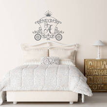 Personalized Initial Letter Wall Decal Monogram Room Decor Cinderella Carriage Princess Design Wall Sticker Home Decor AY0102 personalized initial letter wall decal monogram room decor cinderella carriage princess design wall sticker home decor ay0102