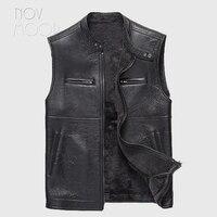Black men genuine leather real lambskin shearling fur vest winter warm Moto biker coat jackets chalecos para hombre LT2396